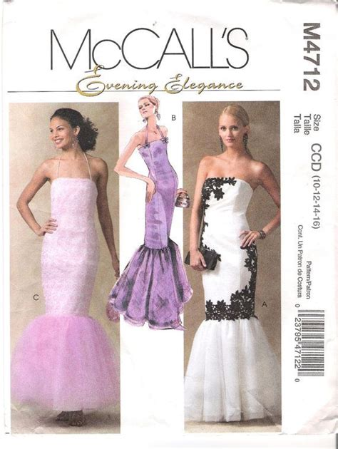 strapless mermaid dress sewing pattern mccall s 4712 sizes