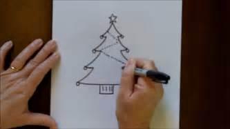 draw christmas tree simple drawing tutorial beginners