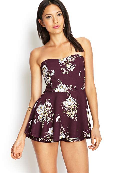 Dress Wanita By Forever21 forever 21 strapless floral skort dress in purple lyst
