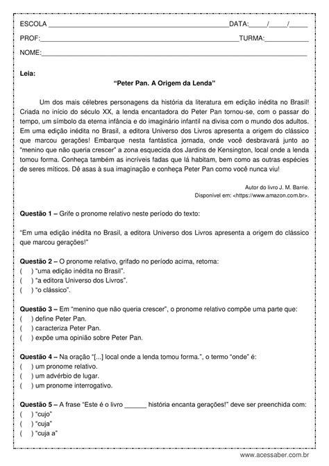 Atividade de português: Pronomes relativos - 8º ano