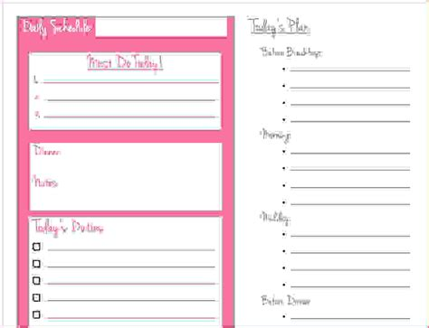 10  daily schedule   Memo Formats