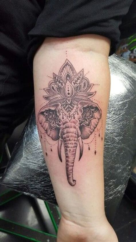 elephant tattoo under arm mandala flower elephant head tattoo on forearm