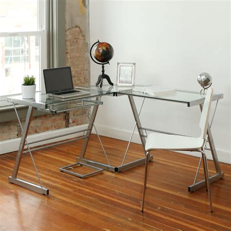 glass top corner desk walker edison silver glass top corner computer desk