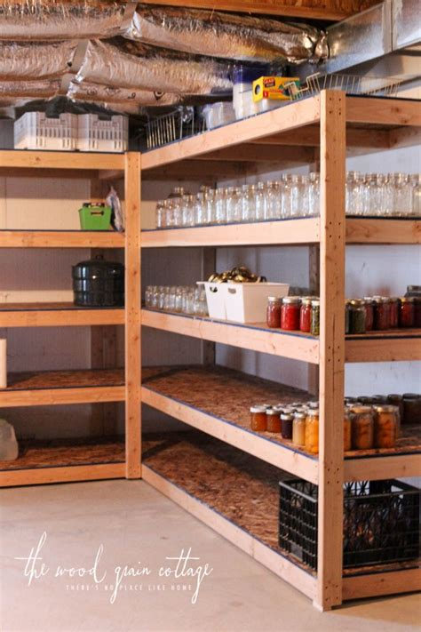 diy basement shelving  wood grain cottage