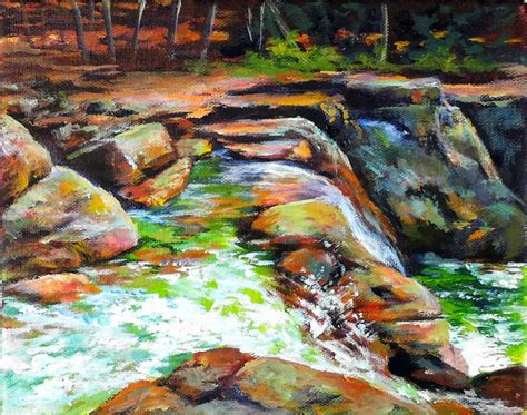 acrylic painting rocks river rocks waterfall acrylic painting lessons for