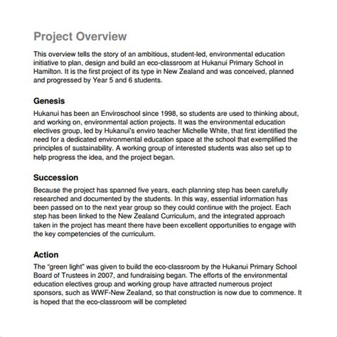 Project Overview Template sle project overview template 12 free documents in