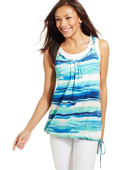 Layered Tank Top lyst style co layered look tank top in blue