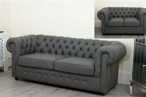 Gray Chesterfield Sofa by Empire Grey Faux Leather Chesterfield Sofa Suite Abreo