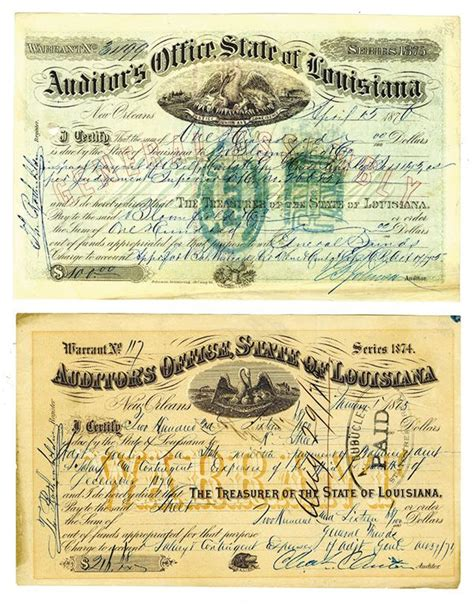 State Of Indiana Tax Warrant Search Auditor S Office State Of Louisiana 1875 1876 Issued