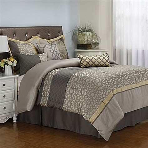 7 piece bedroom set queen buy joseline 7 piece queen comforter set in grey buttercup