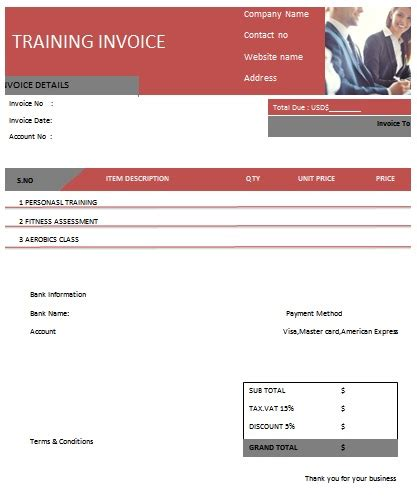 30 personal training invoice templates for professionals