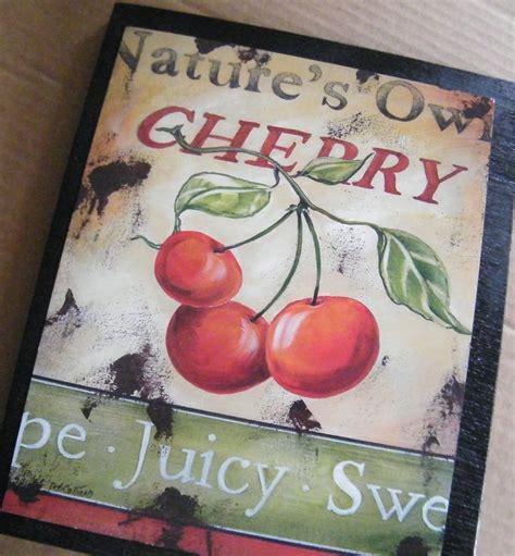 cherry kitchen decor cherry cherries retro primitive country kitchen decor sign
