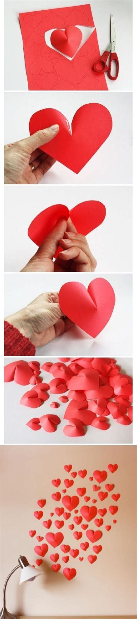 Paper Hearts Craft - diy projects paper wall for your rooms pretty designs