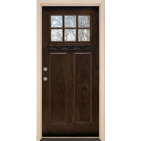 Prehung Fiberglass Exterior Doors Feather River Doors 37 5 In X 81 625 In 6 Lite Craftsman Stained Chestnut Mahogany Right