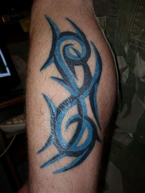 blue tribal tattoo blue and black tribal