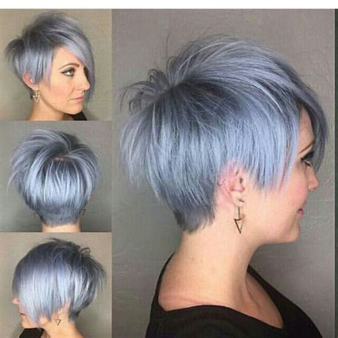blue gray burr cut hair silver blue pixie on emilyandersonstyling long pixie