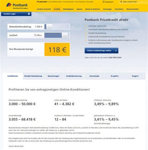 postbank privatkredit zinsen postbank ratenkredit ziemlicher top zins f 252 r eine