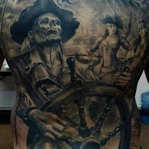 black and grey zombie tattoo zombie undead pirate black and white back tattoo back