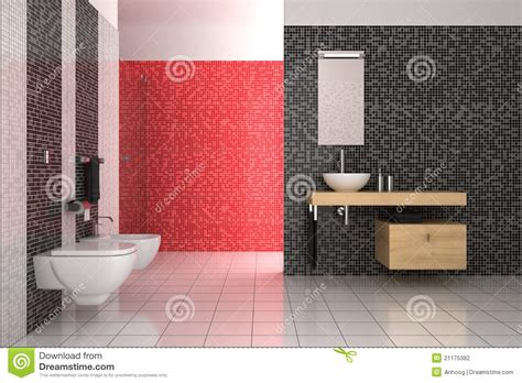 red and white tiles for bathroom modern bathroom with black red and white tiles stock