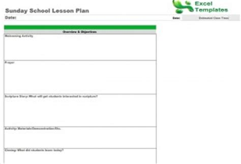 sunday school lesson plan template plan template