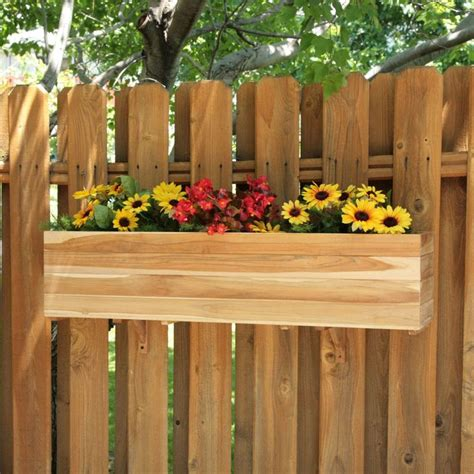 Privacy Fence Planter Box by Fence Flower Box Garden Teak Planters And