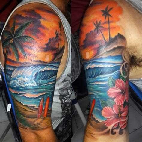 surf flower tattoo designs cool tattoos for half sleeve tattoos