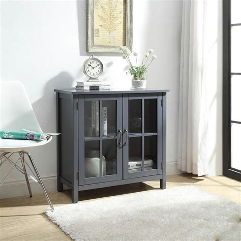 Cupboard With Doors - usl grey accent cabinet with 2 glass doors