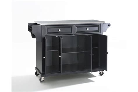 stainless steel kitchen island cart stainless steel top kitchen cart island in black by crosley