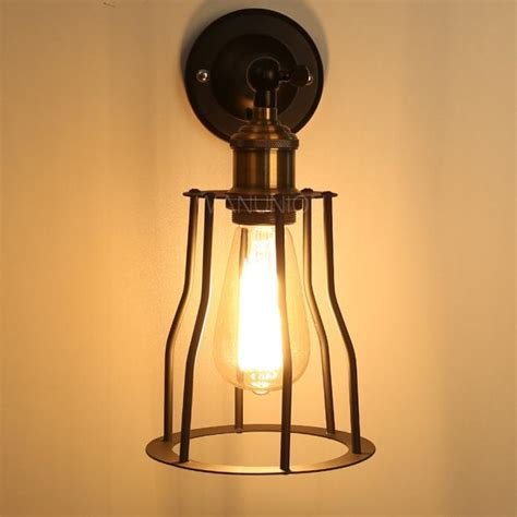 diy wall light fixtures vintage industrial diy cage metal copper wall light sconce