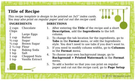 recipe card 3x5 template recipe card template for free formtemplate