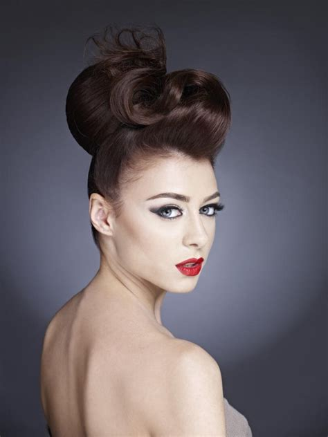 high updo with wide sections of hair and a snaky shape