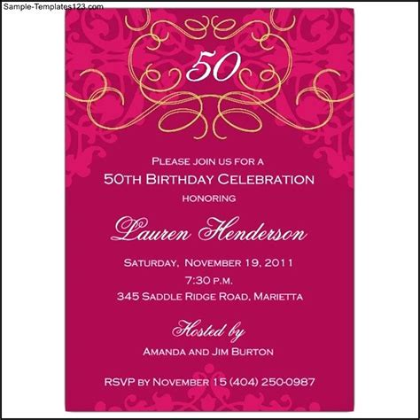 50th birthday invitations templates sle 50th birthday invitation template sle templates