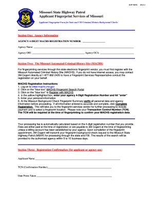 Machs Background Check Fillable Mshp Dps Missouri Machs Fingerprint