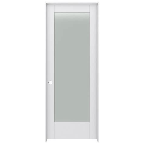 Prehung Interior Door With Glass Shop Jeld Wen Moda Frosted Glass Pine Single Prehung Interior Door Common 28 In X 80 In