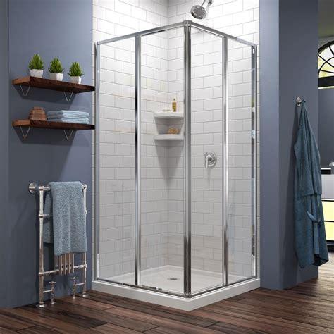 34 Shower Door Dreamline Cornerview 34 1 2 In X 72 In Framed Corner Sliding Shower Door Enclosure In Chrome