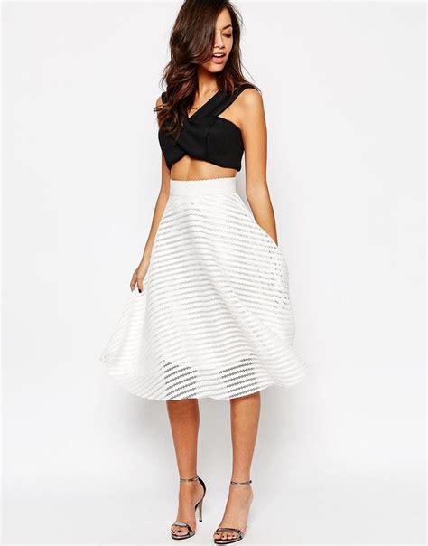 Mesh Skirt image 1 of new look stripe mesh midi skirt 1 actual