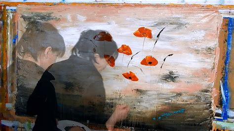 acrylic painting using palette knife poppies painting with acrylic paint use palette knife