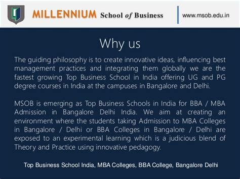 Top 5 Mba Schools In Bangalore by Millennium School Of Business Msob Top Business