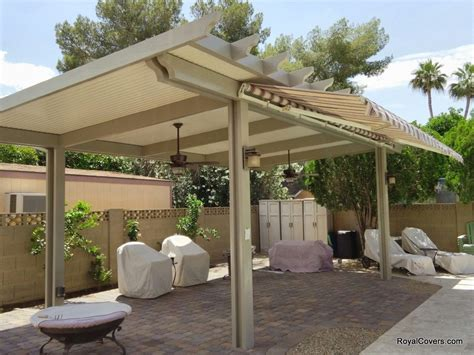 Freestanding Alumawood patio cover with retractable awning