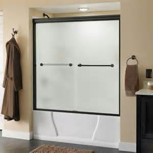 rubbed bronze sliding glass shower doors delta crestfield 59 3 8 in x 58 1 8 in bypass sliding