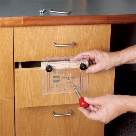 Cabinet Door Jig For Knobs by Cabinet Hardware Jig On Drawer Handle Drill Jig Knobs