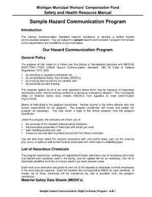 hazard communication program template letter world