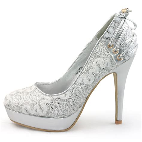 silver lace high heels new womens silver lace glitter high heels platform pumps