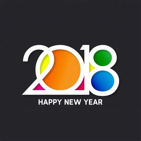 colorful text design for new year 2018 vector free