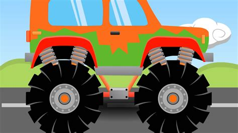 monster truck video orange monster truck 7 monster trucks for kids youtube