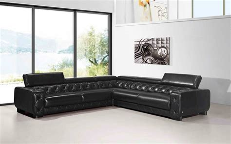 large contemporary black tufted genuine leather sectional