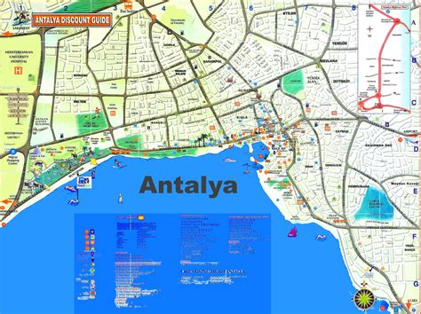 antalya map tourist attractions antalya tourist map
