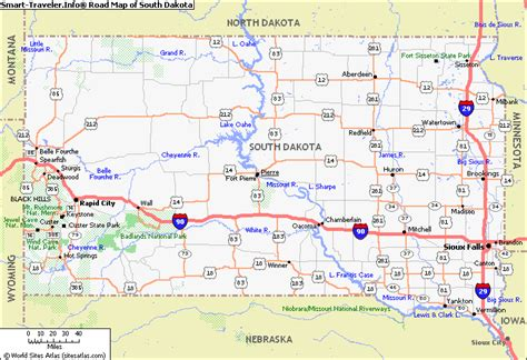 printable south dakota road map map of south dakota