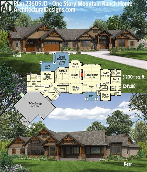 house plans for mountain homes plan 23609jd one story mountain ranch home with options outdoor spaces square feet