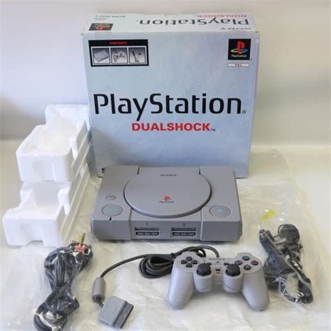 psone console boxed chipped original grey sony ps1 playstation